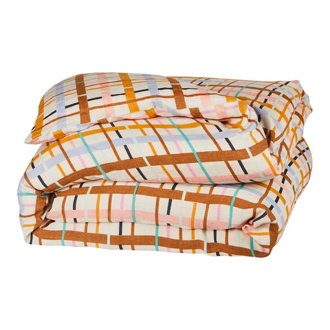 hand printed linen quilt cover in colourful check