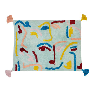 Cara tufted abstract faces multicolour cotton bath mat with tassels
