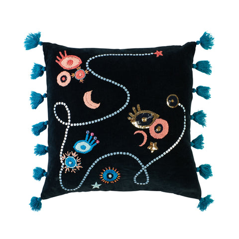 Blue velvet cushion with tassels, sequin and beads patterned evil eye, moon and eye