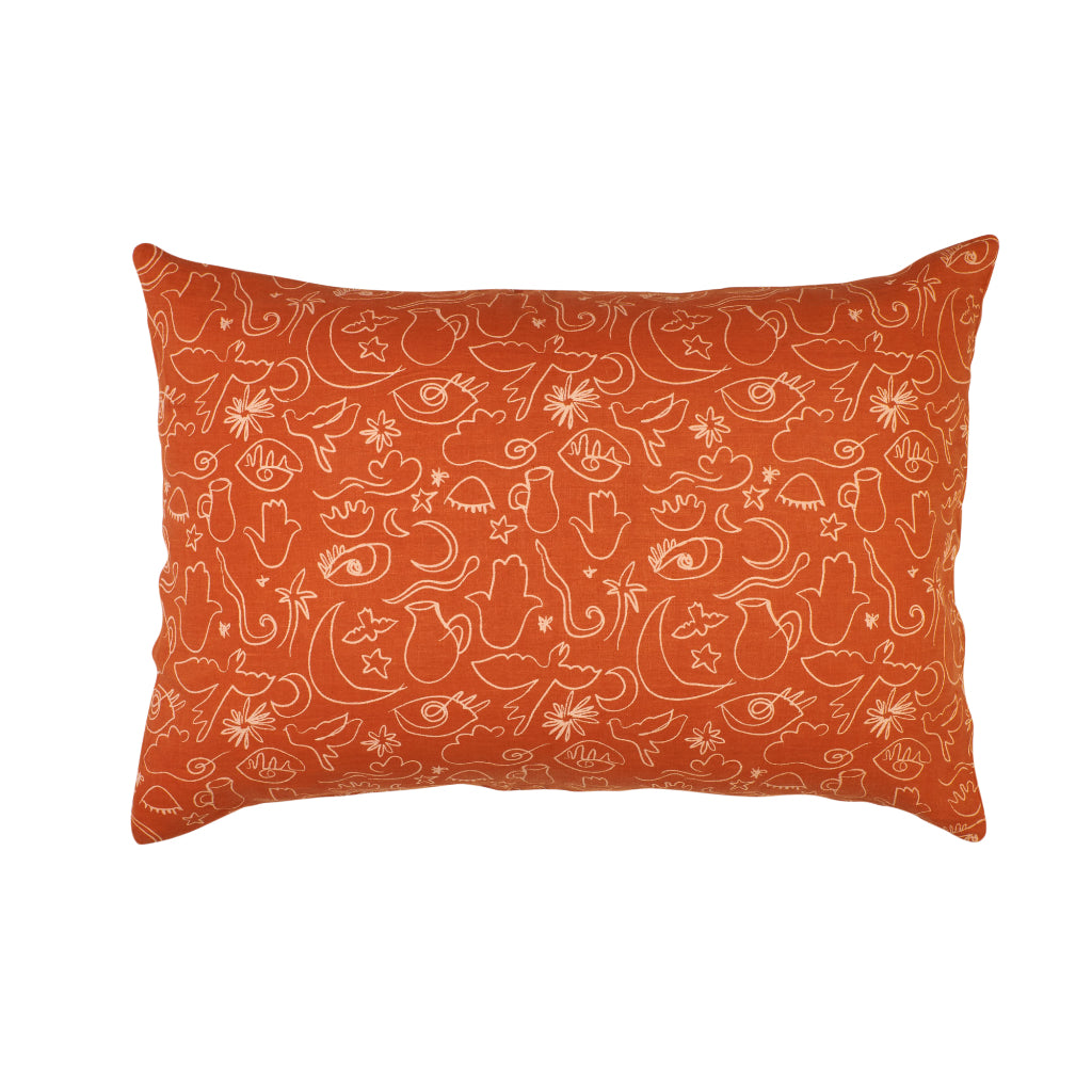 Terracotta clay standard pillowcase with coral line work and drawings