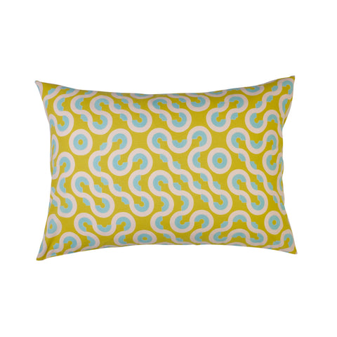 Geometric patterned standard pillowcase with lemon, blush and blue shapes