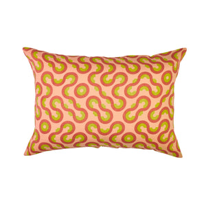 Geometric patterned standard pillowcase with coral, clay and lemon shapes