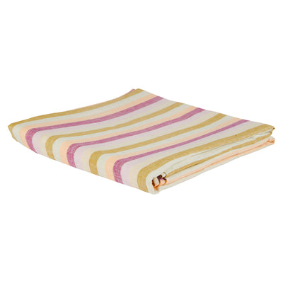 Clement Stripe Yarn Dyed Linen Flat Sheet Sage x Clare