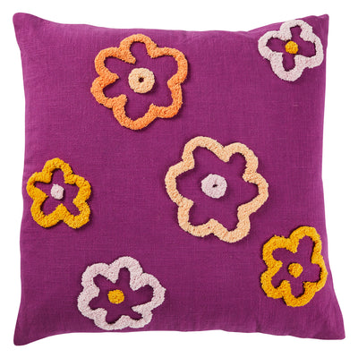 Cybille Cotton Tufted Flower Cushion Grape