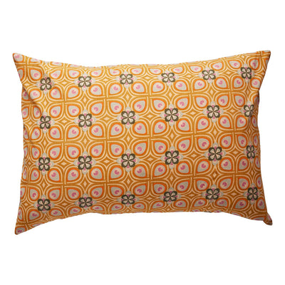 Delvene Cotton Pillowcase in honey geometric design