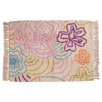 Demi Beni Rug with a multi-coloured floral design and knotted fringing