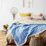 Daisy Block Print Quilt Cover With Blue Denim Chambray Reverse