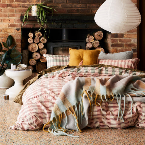 Darcy Ticking Quilt Cover Coral