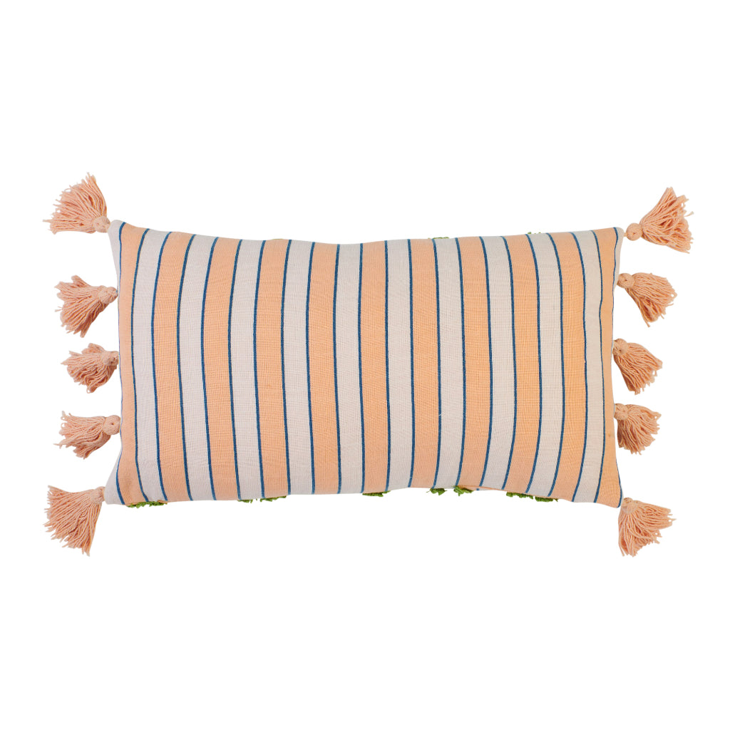 Oblong green tufted cushion with pink and blue stripes and pink tassels