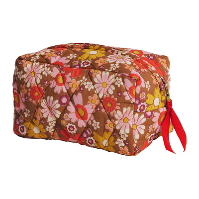 Limited Edition Didi Beauty bag with retro floral print and quilted finish