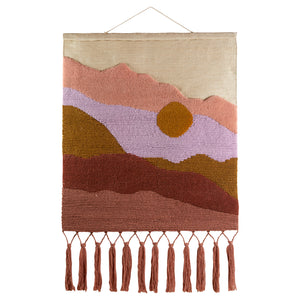 Jute wall hanging mountain scape multi coloured sun with tassels