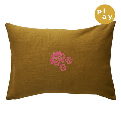 Eda Pillowcase with a textured floral design in honey and orchid