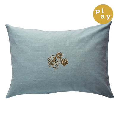 Eda Pillowcase with a textured floral design in powder and cocoa