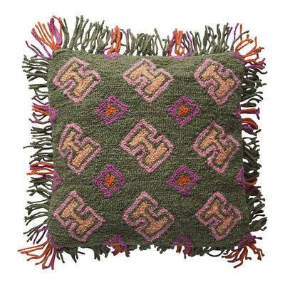 Edna Punch Needle Cushion with geometric pattern and fringe