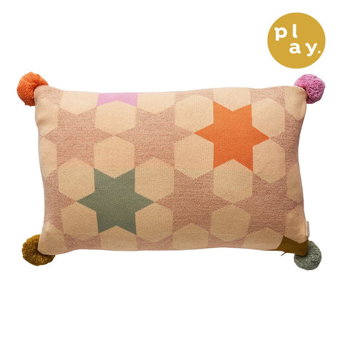 Elsa Metallic Knit Cushion in a multi-coloured star print with pompom details