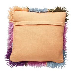 Espina shag cushion in peach with harlequin pattern