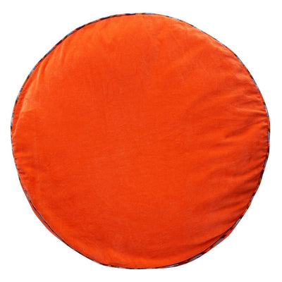 Etienne Velvet Floor Cushion in tangerine