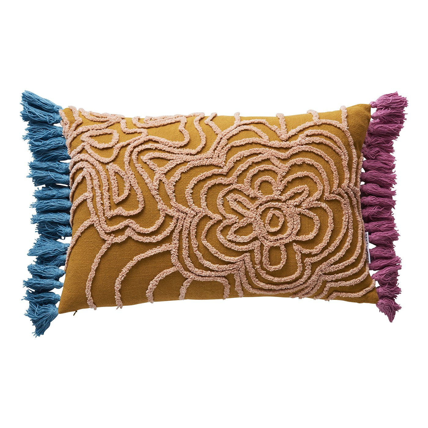 Evelyn Tufted Cushion in honey and parchment, with tassels and embroidered floral design