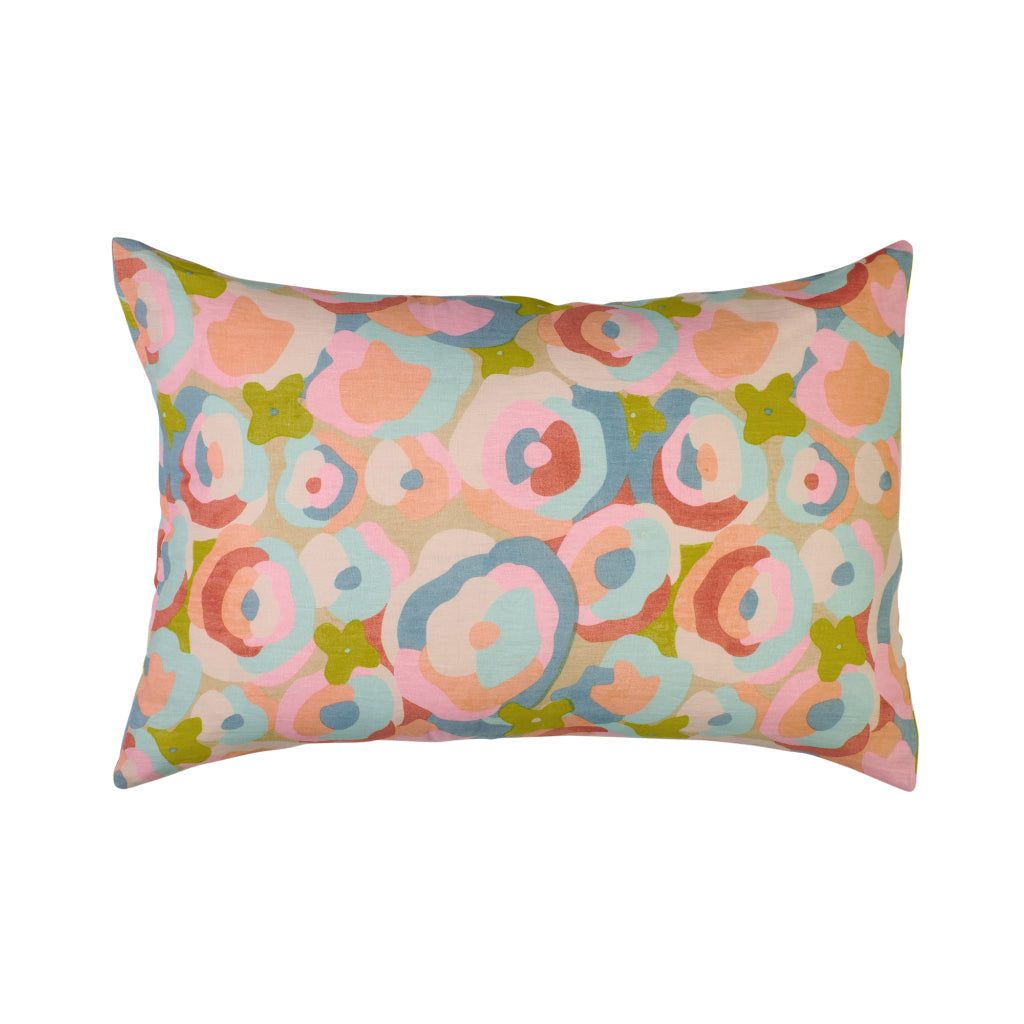 Abstract multicoloured floral standard pillowcase yellow, blue, pink, red