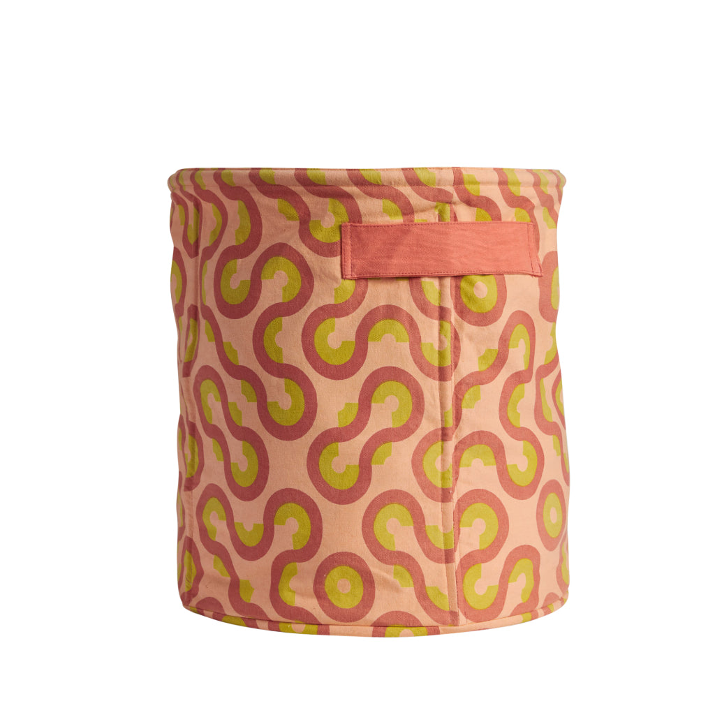 Cotton canvas storage basket small with geometric shapes in coral pink, terracotta clay and lemon yellow with handles