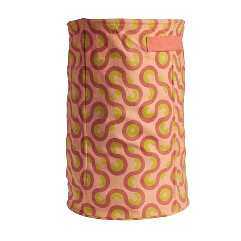 Cotton canvas storage basket large with geometric shapes in coral pink, terracotta clay and lemon yellow with handles