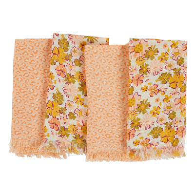 eloise flax linen fringed napkin set with floral and animal print
