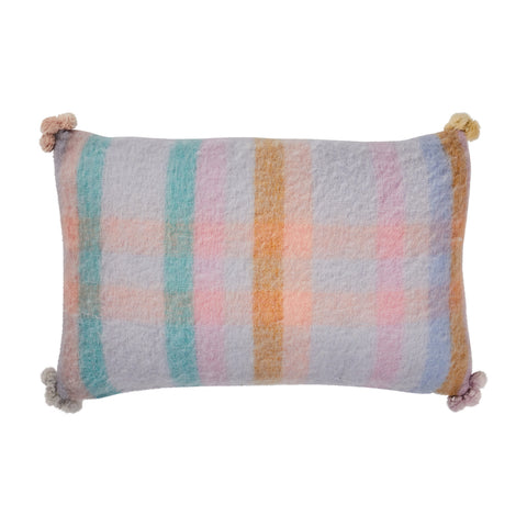 Elora Wool Cushion - Softly knitted cushion in brushed check design with faux-fur Pom Pom clusters.