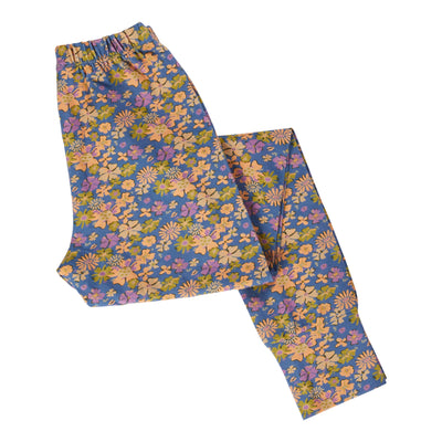 elsie cotton jersey floral womens legging in cornflower