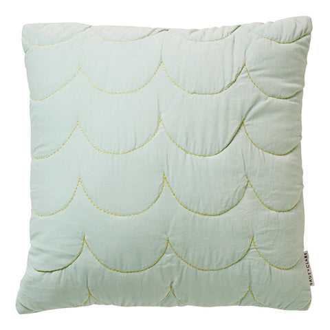 Embroidered chartreuse scalloped stitching adorn this alluring and luxurious jade quilted sham.
