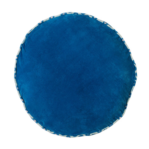 Etienne oversized round velvet floor cushion with piping azure