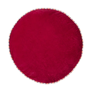 Etienne oversized round velvet floor cushion with piping cherry