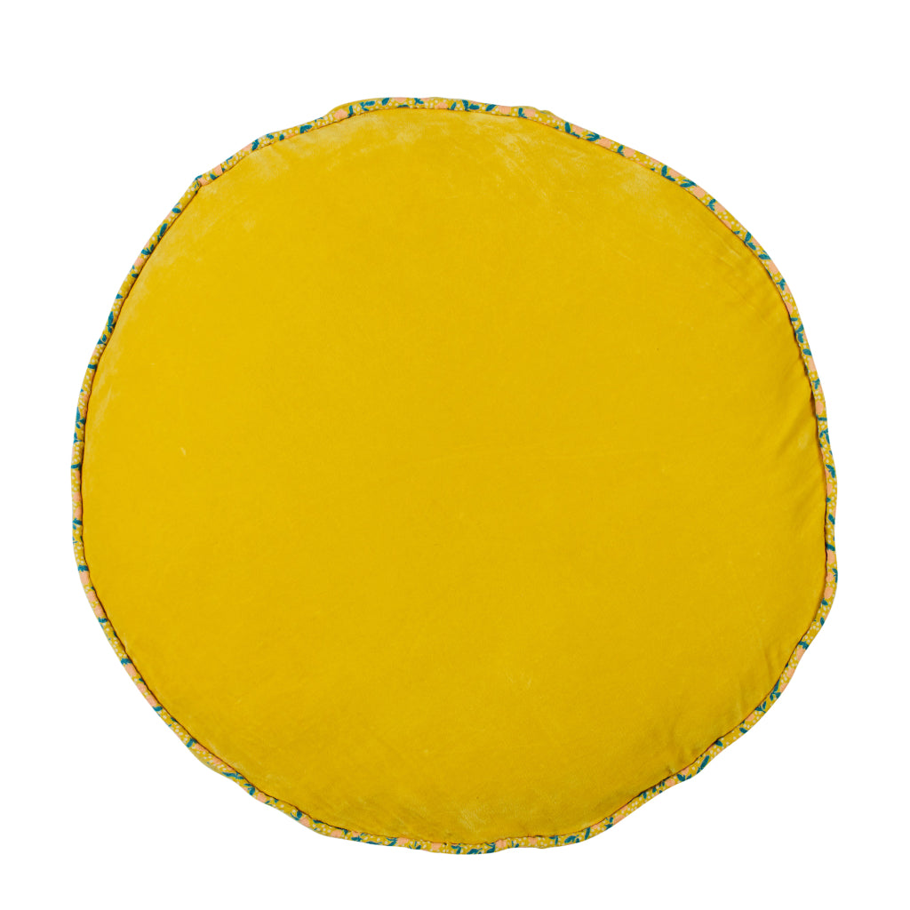 Etienne oversized round velvet floor cushion with piping lemon