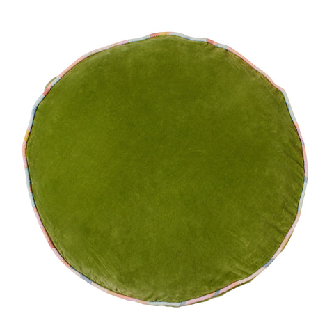 Etienne oversized round velvet floor cushion with piping pickle green