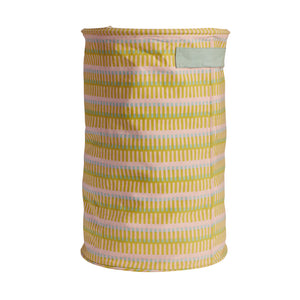 Cotton canvas storage basket large with geometric shapes in lemon yellow, blue powder and green with handles
