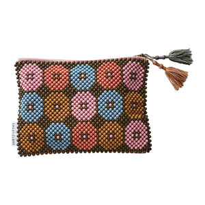 Florence Beaded Clutch in a bold multi-coloured, floral design and tassels