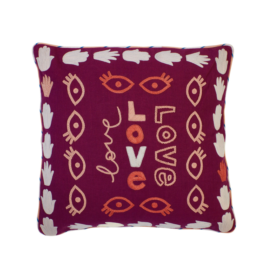 Merlot burgundy large cushion with embroidered love, hands and eye motifs