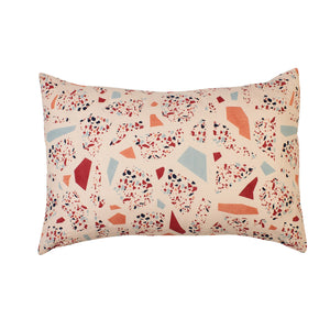 Standard pillowcase with multicolour terrazzo motifs on blush base