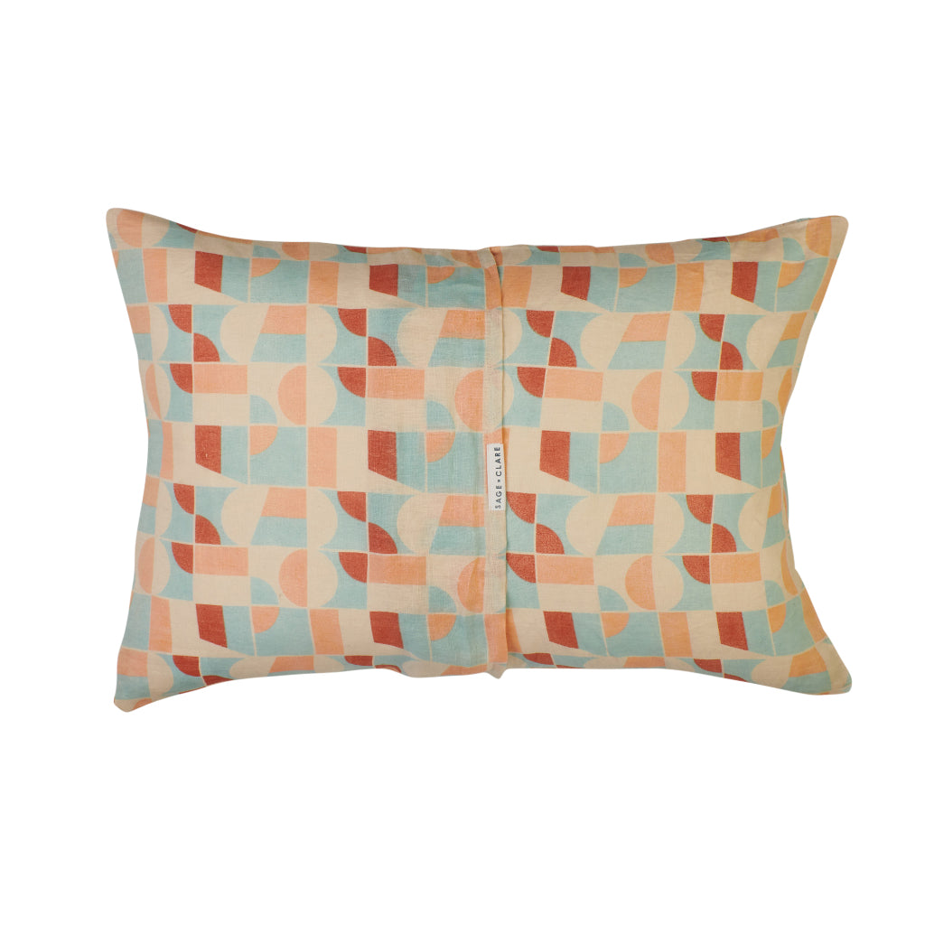 Vintage washed geometric standard pillowcase with blush, coral, red and blue shapes