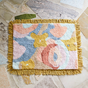 Fleur tufted multicolour abstract floral cotton bath mat with corded fringing