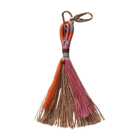 Genie Jute Key Ring in Lobster with tassel detailing and rose gold hardware