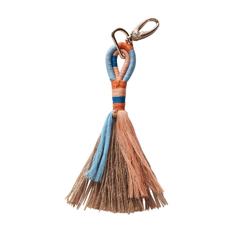 Genie Jute Key Ring in powder with tassel detailing and rose gold hardware