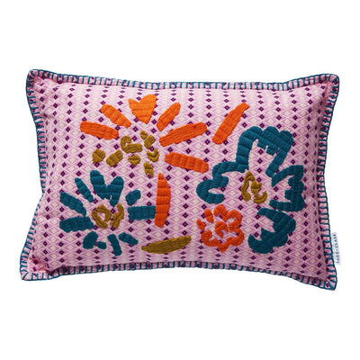 Georgie Embroidered Cushion with geometric and floral pattern