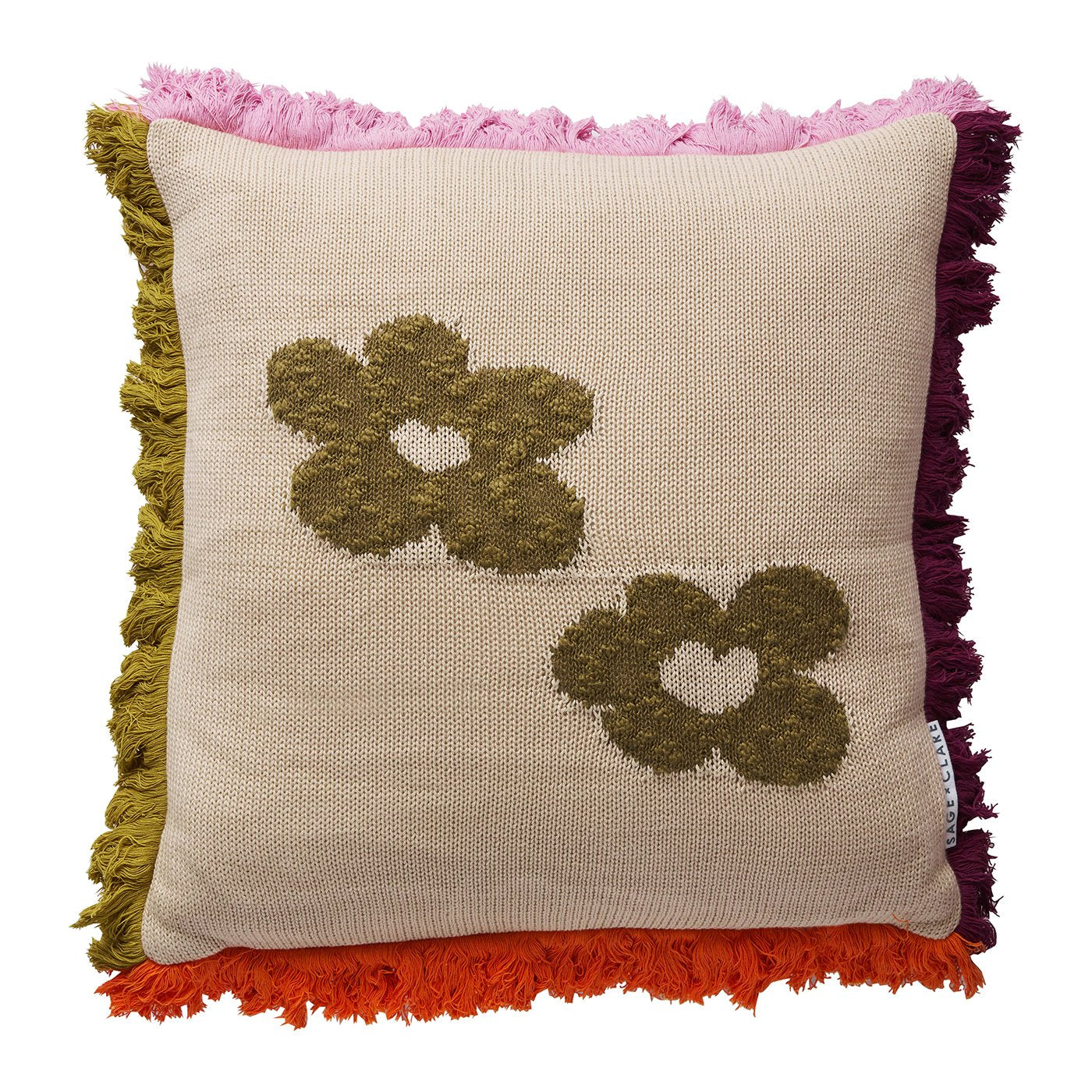 Hazel Flower Cushion in knitted parchment with hazel flowers and coloured fringing