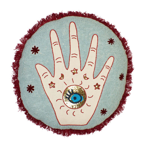 Denim round cushion with embroidered and beaded hamsa hand and merlot fringe