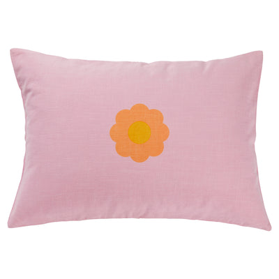 Hana Cotton Flower Pillowcase Lilac Melon Orange