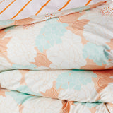 Hand Printed Vintage Floral Quilt Cover With Lilac And Orange Stripe Reverse
