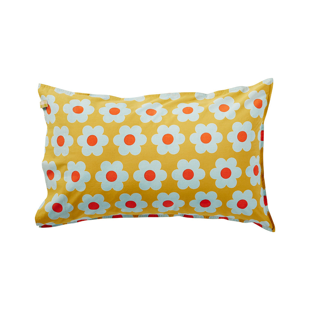 Hand printed sunflower pillowcase adorned with a contrast gingham tab embellishment and featuring a twin needle top stitch detail