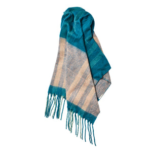 Hannah Check Mohair Blanket - Turquoise