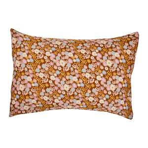 70s inspired hand printed floral pillowcase set