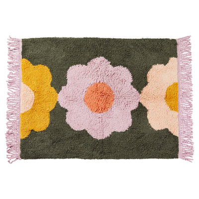helene flower cotton tufted bath mat fringe